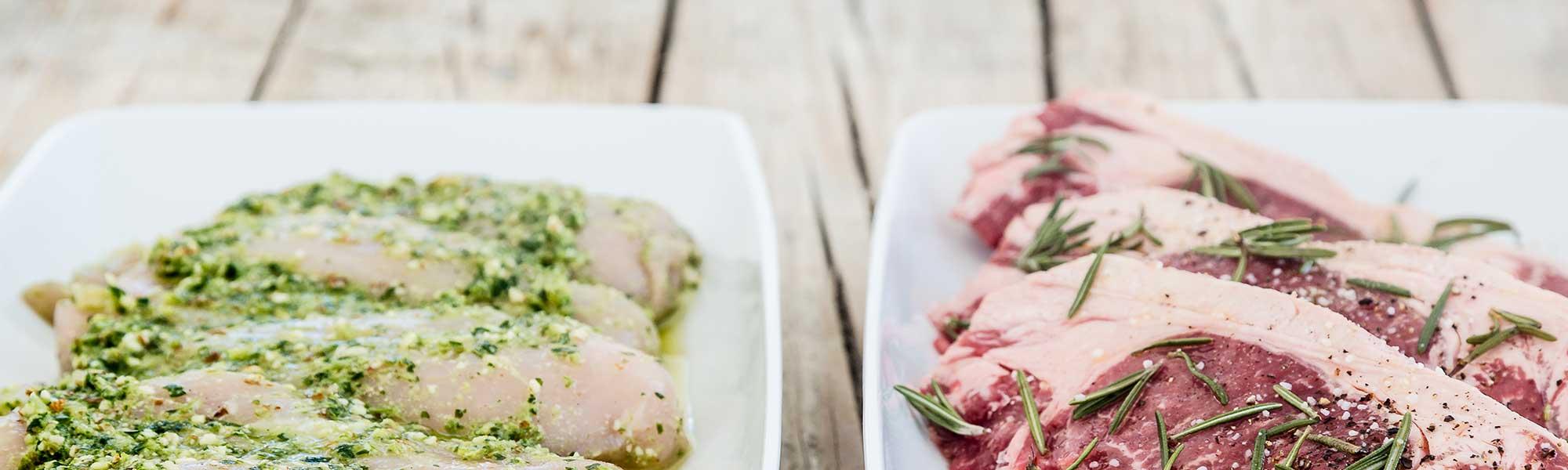 sæsonens bedste grøntsager og fedtfattigt kød eller fisk
